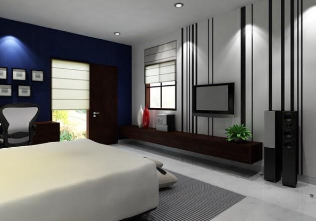Спальня-гостиная в темных тонах