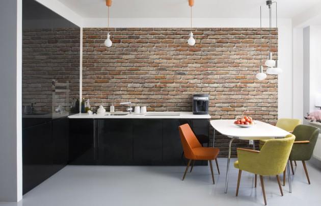 Имитация кирпичной стены на кухне