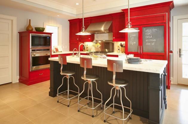 Дизайн кухни с красной мебелью