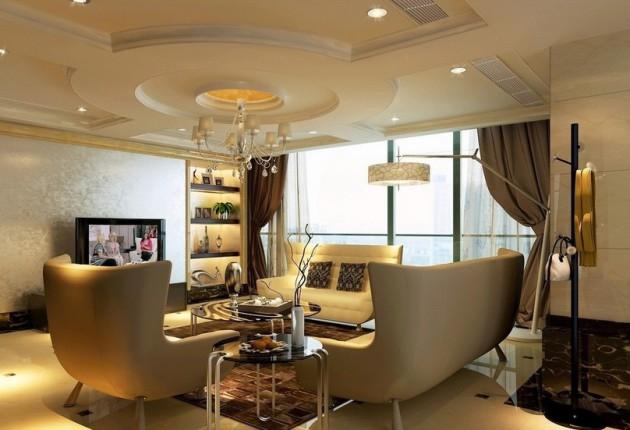 Многоуровневый светлый потолок в гостиной