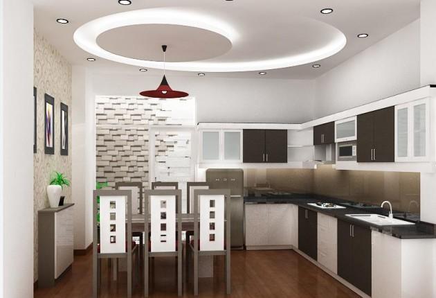 Дизайн белого потолка со спотами