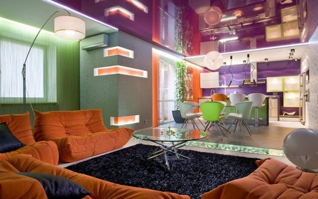Дизайн гостиной с глянцевым натяжным потолком