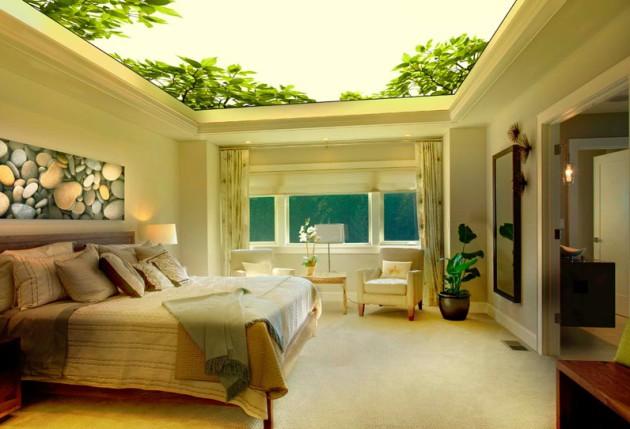 Дизайн спальни 2017 с оригинальным потолком