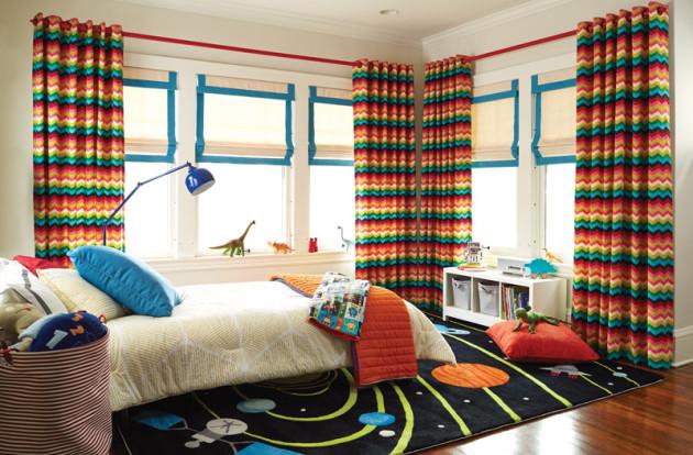 Яркий дизайн штор для детской комнаты