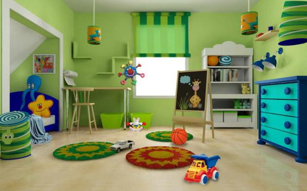 Зелёный цвет в дизайне детской комнаты