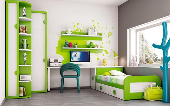 Дизайн-проект детской в зеленых тонах