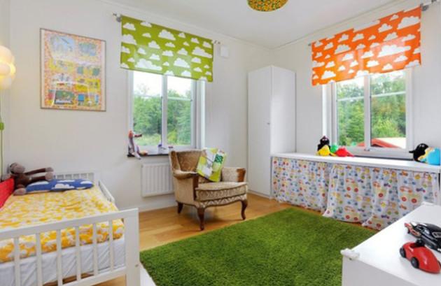 Идея яркого дизайна интерьера детской