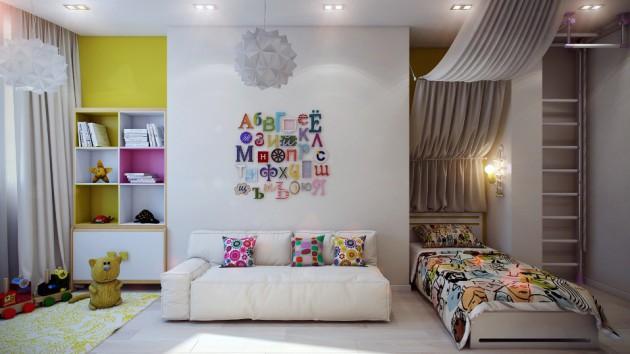 Идея зонирования пространства в детской комнате