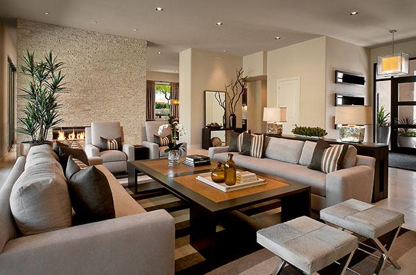 Дизайн гостиной в серо-коричневых тонах