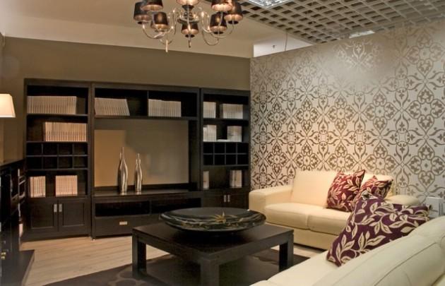 Дизайн обоев с крупным рисунков для гостиной