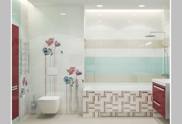 Обустройство ванной комнаты в светлых тонах