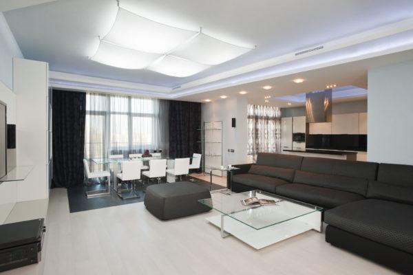 Стиль минимализм в дизайне гостиной