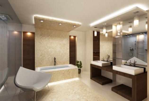 Вариант дизайна ванной 2017 с белым потолком