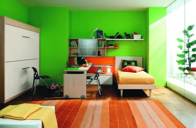 Дизайн детской с зелёными стенами и оранжевым ковровым покрытием