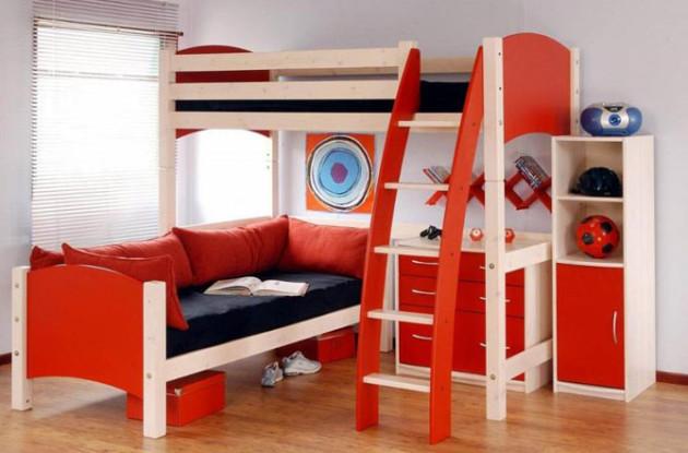 Модульная мебель в интерьере комнаты для двоих детей