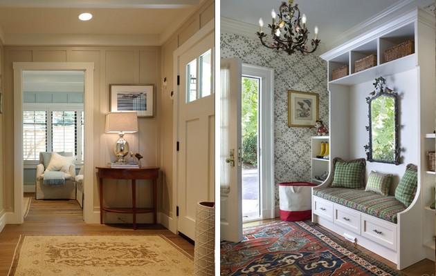 Дизайн прихожих с мебелью и люстрой в частном доме