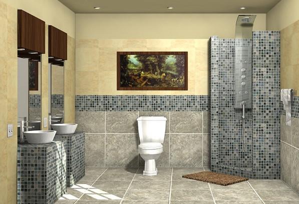 Современный дизайн ванной с серой мозаикой