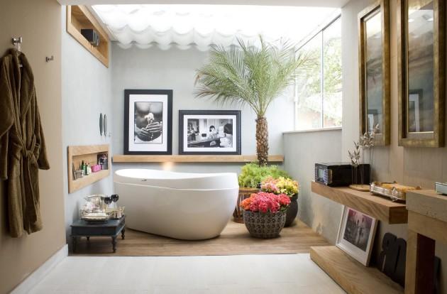 Уютный интерьере ванной комнаты