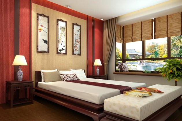Дизайн рулонных штор для спальни в восточном стиле
