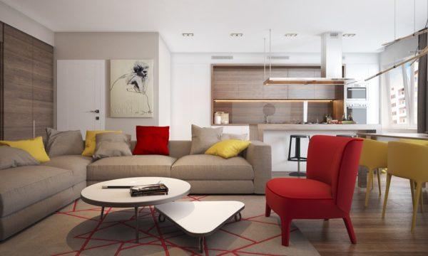 Стиль модерн в интерьере современного зала