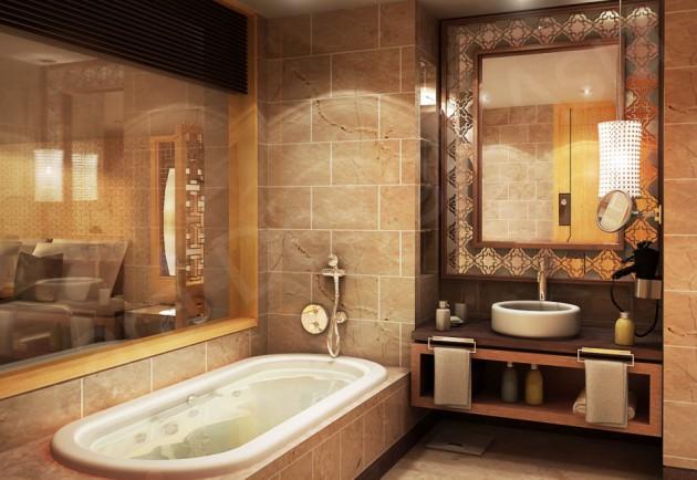 Оформление ванной в коричневых тонах