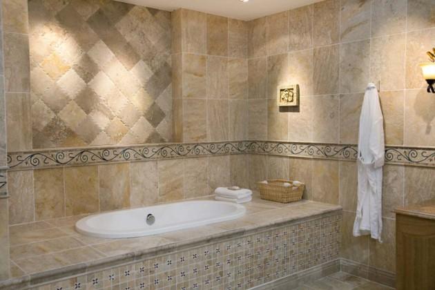 Отделка ванной бежевой плиткой