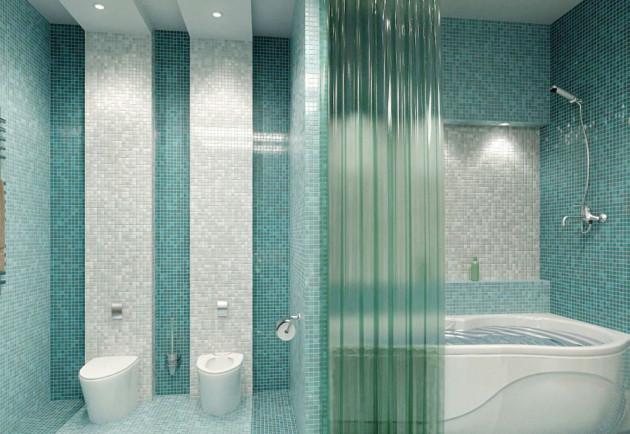 Отделка ванной комнаты мозаикой бирюзового и белого цветов
