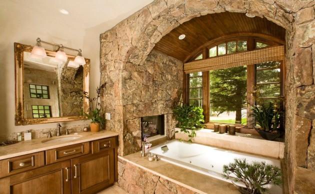 Использование натурального камня в отделке ванной