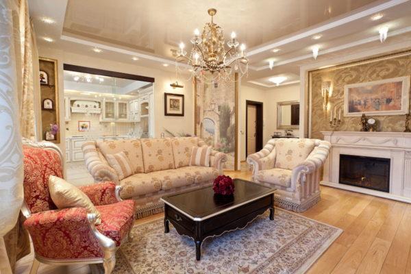 Дизайн гостиной в классическом стиле 2017