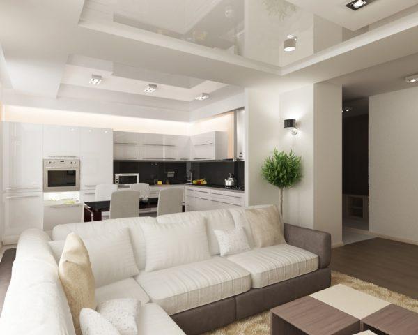 Дизайн потолка в кухне, совмещенной с гостиной