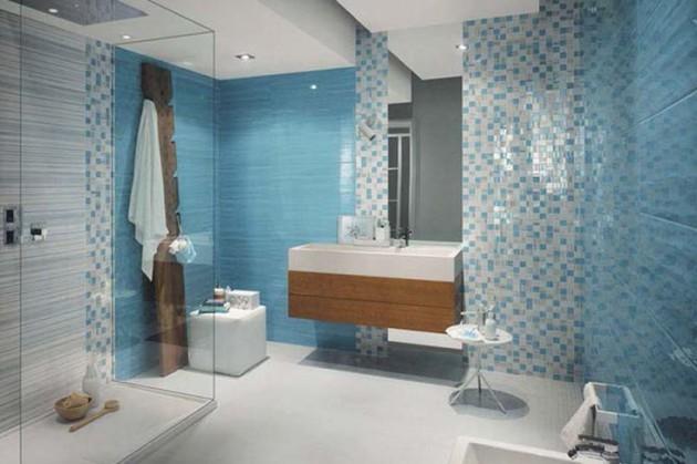 Мозаика голубого цвете в отделке ванной