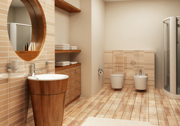 Плитка - имитация дерева в ванной