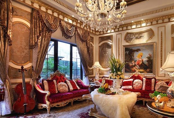 Шторы и гостиная в стиле барокко