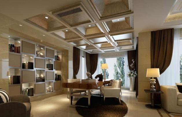 Дизайн потолка 2017 в интерьере гостиной