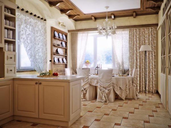 Дизайн штор двух цветов для кухни столовой зоны