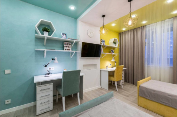 Дизайн детской комнаты в бирюзовых и жёлтых тонах