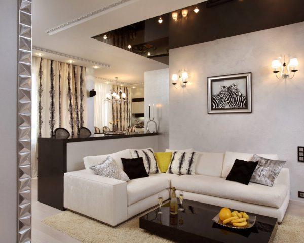 Дизайн черно-белого потолка