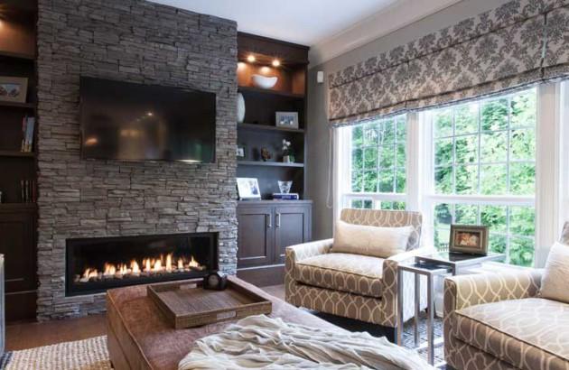 Римские шторы в дизайне гостиной 2017