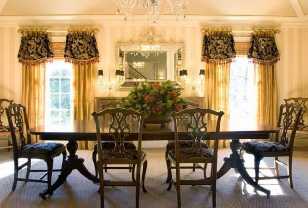 Дизайн столовой с жёлтыми шторами на окнах