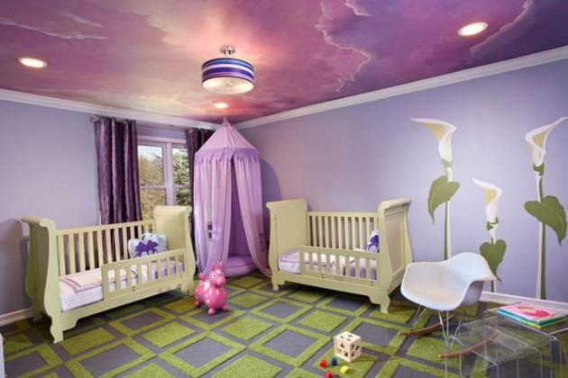 Дизайн потолка 2017 сиреневого цвета в интерьере детской