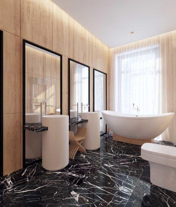 Тёмный пол в дизайне ванной