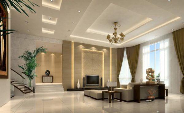 Вариант многоуровнего потолка белого цвета