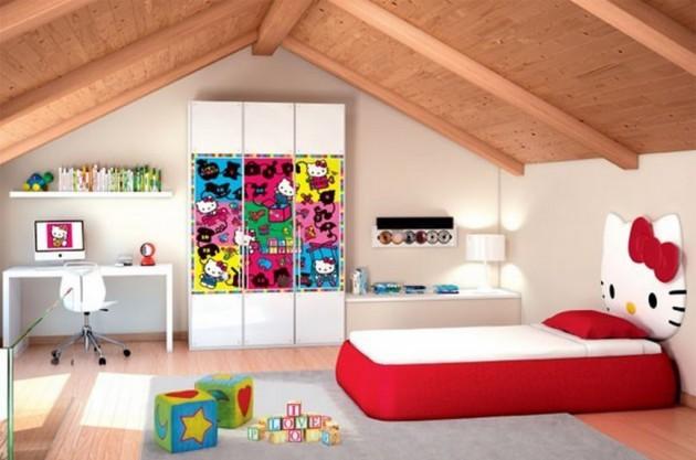 Вариант оформления детской комнаты на мансарде