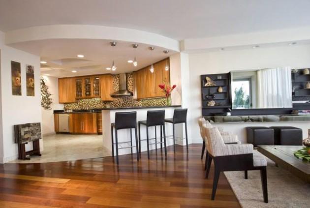 Пример оформления гостиной, совмещённой с кухней