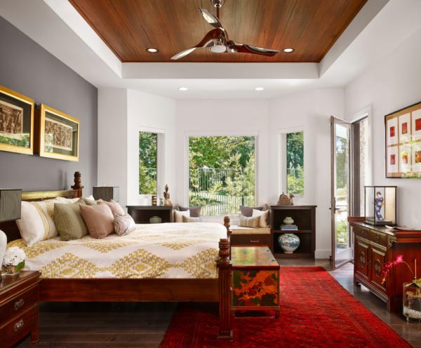 Идея оформления потолка в спальне