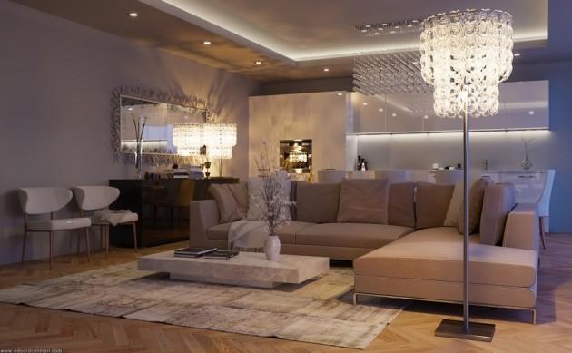 Дизайн торшера 2017 для освещения зала