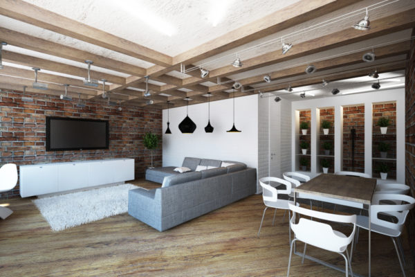 Дизайн потолка с балками 2017 в квартире