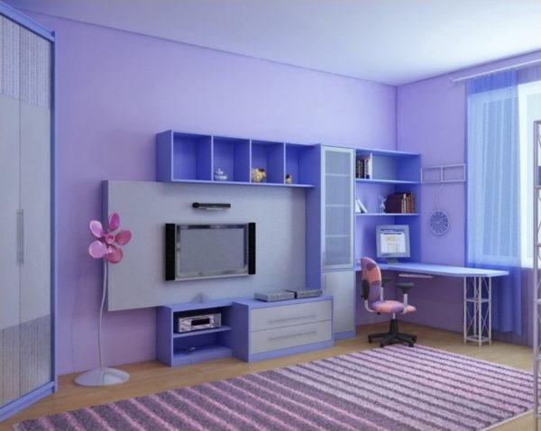 Дизайн детской для девочки с модульной мебелью