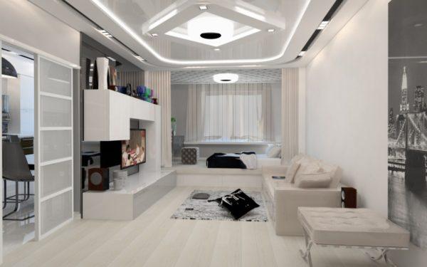 Идея дизайна белой гостиной в стиле хай-тек