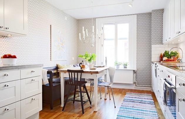 Фото: флизелиновые обои в интерьере кухни скандинавского стиля